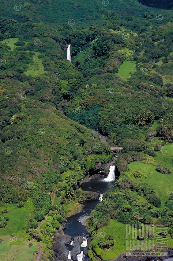 Aerial of waterfalls, Seven sacred pools,Hana,Maui