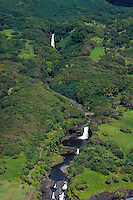 Aerial of waterfalls, Seven sacred pools,Hana,Maui