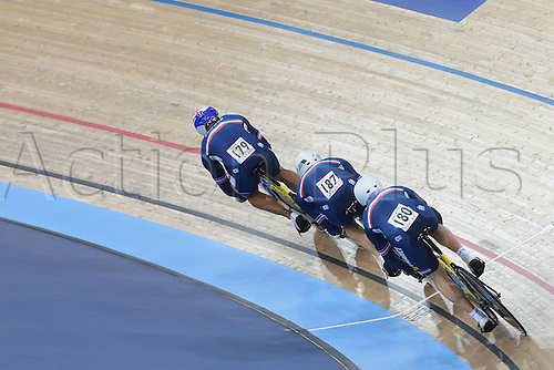 03.03.2016. Lee Valley Velo Centre, Lonodn England. UCI Track Cycling World Championships Mens Team Pursuit.  Team France<br />