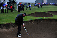 Shane Lowry plays out of the fairway bunker on the 18th during the 1st playoff hole of the 3 Irish Open on 17th May 2009 (Photo by Eoin Clarke/GOLFFILE)