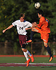 Christopher Crowley #24 of Garden City, left, heads a ball away from William Rivera #9 of Great Neck North during a Nassau County Conference A1 varsity boys soccer game at Garden City High School on Monday, Sept. 12, 2016. The game ended in a scoreless tie.