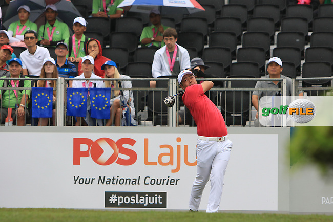 Hideto Tanihara (Asia) on the 1st tee during the Friday Foursomes of the Eurasia Cup at Glenmarie Golf and Country Club on the 12th January 2018.<br /> Picture:  Thos Caffrey / www.golffile.ie