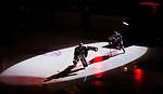 S&ouml;dert&auml;lje 2014-09-22 Ishockey Hockeyallsvenskan S&ouml;dert&auml;lje SK - IF Bj&ouml;rkl&ouml;ven :  <br /> S&ouml;dert&auml;ljes m&aring;lvakt Tim Sandberg och en lagkamrat i ljuset av en spotlight under ett intro innan matchen mellan S&ouml;dert&auml;lje och Bj&ouml;rkl&ouml;ven<br /> (Foto: Kenta J&ouml;nsson) Nyckelord: Axa Sports Center Hockey Ishockey S&ouml;dert&auml;lje SK SSK Bj&ouml;rkl&ouml;ven L&ouml;ven IFB  intro genre