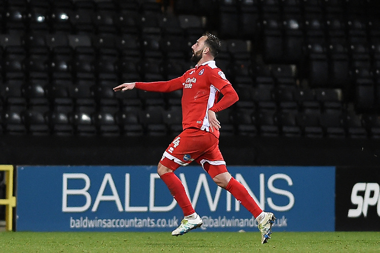 Crawley Town&rsquo;s Josh Payne celebrates scoring a goal to make it 1-2<br /> <br /> Photographer Jon Hobley/CameraSport<br /> <br /> The EFL Sky Bet League Two - Notts County v Crawley Town - Tuesday 23rd January 2018 - Meadow Lane - Nottingham<br /> <br /> World Copyright &copy; 2018 CameraSport. All rights reserved. 43 Linden Ave. Countesthorpe. Leicester. England. LE8 5PG - Tel: +44 (0) 116 277 4147 - admin@camerasport.com - www.camerasport.com