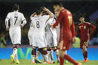 Germany's players celebrate goal in presence of Spain's Pedro Rodriguez  and Isco during international friendly match.November 18,2014. (ALTERPHOTOS/Acero) /NortePhoto<br />