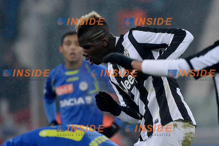 Paul Pogba esultanza secondo gol  , goal celebration ,  Juventus 2-0.Calcio  Juventus vs Udinese.Campionato Serie A - Torino 19/1/2013 Juventus Stadium.Football Calcio 2012/2013.Foto Federico Tardito Insidefoto.