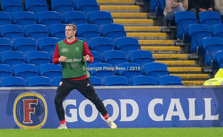 Cardiff - UK - 9th September :<br />Wales v Belarus Friendly match at Cardiff City Stadium.<br />Gareth Bake warming up for Wales.<br />Editorial use only