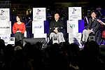 (L to R) Japanese dancer Tamiyo Kusakari, kabuki star Ichikawa Ebizo and creative director Yoshiaki Sawabe, speak during the 1000 Days to Go! cultural event in front of Tokyo Station on November 26, 2017, Tokyo, Japan. Japanese celebrities attended the event marking the 1000-day countdown to the 2020 Tokyo Olympics. (Photo by Rodrigo Reyes Marin/AFLO)