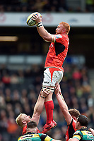 Joel Conlon of Saracens wins the ball at a lineout. Aviva Premiership match, between Northampton Saints and Saracens on April 16, 2017 at Stadium mk in Milton Keynes, England. Photo by: Patrick Khachfe / JMP