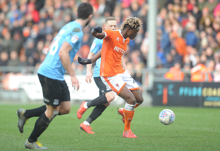 Blackpool's Armand Gnanduillet<br /> <br /> Photographer Kevin Barnes/CameraSport<br /> <br /> The EFL Sky Bet League One - Blackpool v Southend United - Saturday 9th March 2019 - Bloomfield Road - Blackpool<br /> <br /> World Copyright © 2019 CameraSport. All rights reserved. 43 Linden Ave. Countesthorpe. Leicester. England. LE8 5PG - Tel: +44 (0) 116 277 4147 - admin@camerasport.com - www.camerasport.com