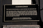 Curson Lodge, medieval inn, information plaque, Ipswich, Suffolk, England