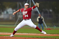 Indiana Hoosiers pitcher Ryan Halstead #34 delivers a pitch during a game against the Pittsburgh Panthers at the Big Ten/Big East Challenge at the Walter Fuller Complex on February 19, 2012 in St. Petersburg, Florida.  (Mike Janes/Four Seam Images)