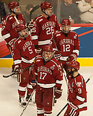 Viktor Dombrovskiy (Harvard - 27), Wiley Sherman (Harvard - 25), Clay Anderson (Harvard - 5), John Marino (Harvard - 12), Sean Malone (Harvard - 17), Luke Esposito (Harvard - 9) - The University of Minnesota Duluth Bulldogs defeated the Harvard University Crimson 2-1 in their Frozen Four semi-final on April 6, 2017, at the United Center in Chicago, Illinois.