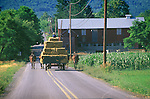 Amish hauling hay on Middle Road, Nippenose Valley. 2002