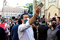 Matteo Salvini taking a selfie<br /> Roma June 2nd 2020. Italy, Piazza del Popolo. Demonstration of the right parties Lega Nord per Salvini, Fratelli d'Italia and Forza Italia against the government in occasion of the anniversary of the Republic. The protesters have exposed a huge Italian flag.<br /> Photo Samantha Zucchi Insidefoto