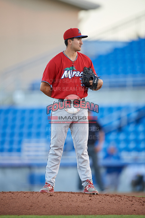 Fort Myers Miracle relief pitcher Hector Lujan (35) looks in for the sign during a game against the Dunedin Blue Jays on April 17, 2018 at Dunedin Stadium in Dunedin, Florida.  Dunedin defeated Fort Myers 5-2.  (Mike Janes/Four Seam Images)