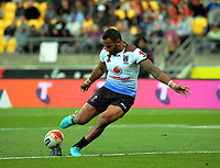 Fiji's Apisai Koroisau kicks for goal during the 2017 Rugby League World Cup quarterfinal match between New Zealand Kiwis and Fiji at Wellington Regional Stadium in Wellington, New Zealand on Saturday, 18 November 2017. Photo: Dave Lintott / lintottphoto.co.nz
