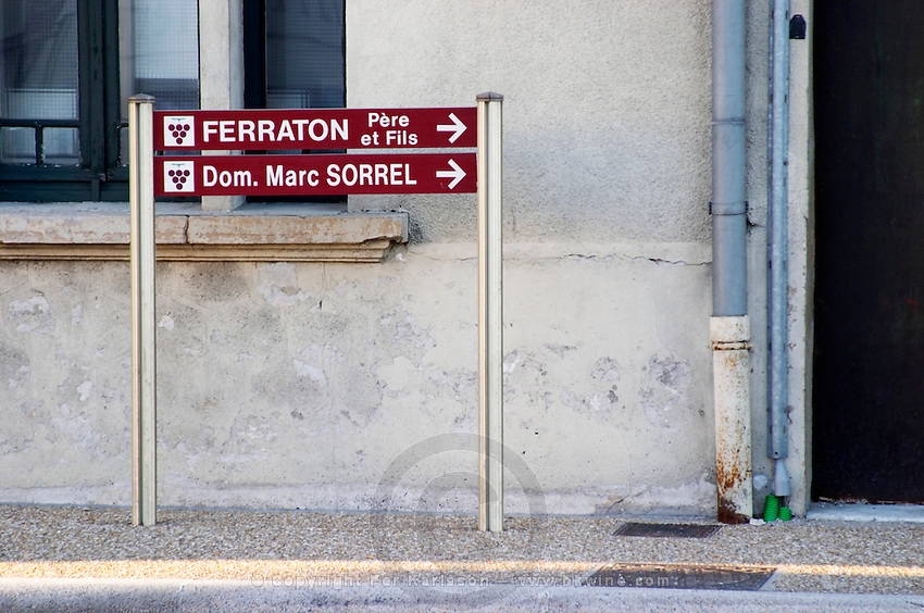 street sign domaine m sorrel tain l hermitage rhone france