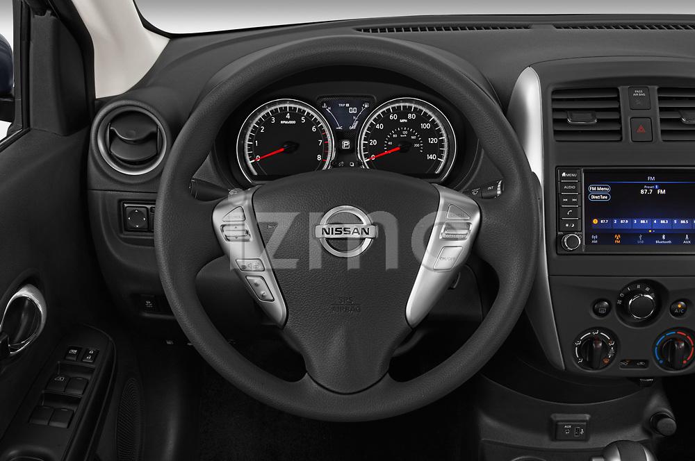 Car pictures of steering wheel view of a 2019 Nissan Versa-Sedan SV 4 Door Sedan Steering Wheel