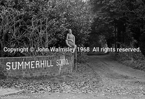 Main entrance, Summerhill school, Leiston, Suffolk, UK. 1968.