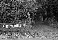 Main entrance, Summerhill school, Leiston, Suffolk, UK. 1968.