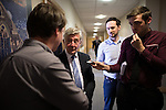 © Joel Goodman - 07973 332324 . 29/05/2015 . Leigh , UK . TONY LLOYD (2nd left) being interviewed by press after being selected as interim Mayor of Greater Manchester in what is the UK's first devolved Mayorilty with such power , outside of London . Photo credit : Joel Goodman