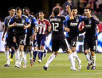 San Jose Earthquakes forward Chris Wondolowski (8) celebrates a goal with his teammates. CD Chivas USA and San Jose Earthquakes are tied 1-1 at the half at Home Depot Center stadium in Carson, California on Saturday April 24, 2010.  .