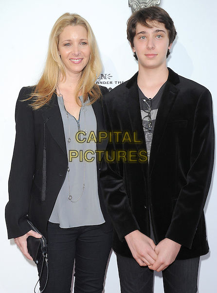 "Lisa Kudrow and Julian Murray.""The Book of Mormon"" Hollywood Opening night Held At The Pantages theatre, Hollywood, California, USA..September 12th, 2012.half length top blazer suit jacket mother mom mum son family black grey gray .CAP/DVS.©DVS/Capital Pictures."
