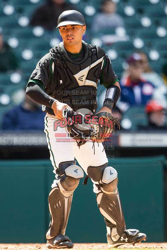 Hawaii Rainbow Warriors catcher Chayce Ka'aua (7) in action during Houston College Classic against the Baylor Bears on March 6, 2015 at Minute Maid Park in Houston, Texas. Hawaii defeated Baylor 2-1. (Andrew Woolley/Four Seam Images)