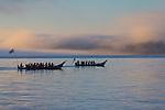 Canoe Journey, Paddle to Nisqually, 2016, Makah tribal canoes paddling at sunrise, Salish Sea, Port Townsend, Olympic Peninsula, Puget Sound, Washington State, USA, tradition, history, tribal gatherings, Indian, canoes,