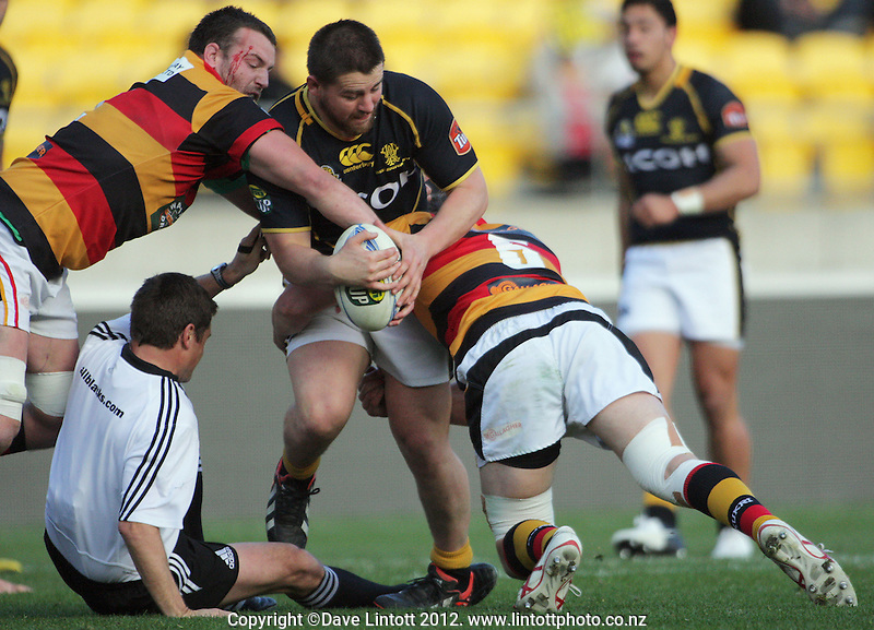Referee Nigel Briant is knocked down during the ITM Cup rugby union match between Wellington Lions and Waikato at Westpac Stadium, Wellington, New Zealand on Saturday, 15 September 2012. Photo: Dave Lintott / lintottphoto.co.nz