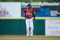 Chris Garia (15) of the Hickory Crawdads takes his lead off of second base against the Lexington Legends at L.P. Frans Stadium on April 29, 2016 in Hickory, North Carolina.  The Crawdads defeated the Legends 6-2.  (Brian Westerholt/Four Seam Images)