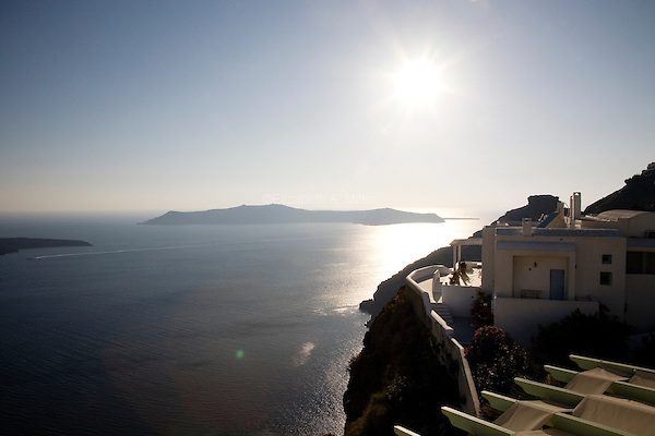View of the caldera from Hotel Ira just before sunset in Santorini, Greece on July 3, 2013.