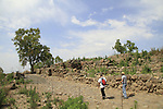 Israel, Sea of Galilee, the road to the gate and the wall of ancient Bethsaida, destroyed by the Assyrians in 732 BCE