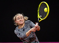 The Hague, The Netherlands, Februari 8, 2020,    Sportcampus, FedCup  Netherlands -  Balarus, Seccond match on Saturday:  Aliaksandra Sasnovich (NED)<br /> Photo: Tennisimages/Henk Koster
