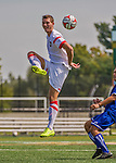 5 September 2014: St. Francis College Terrier Defender Fabian Suele, a Sophomore from Hessen, Germany, in action against the University of Massachusetts River Hawks, at Virtue Field in Burlington, Vermont. The River Hawks defeated the Terriers 3-1, on the first day of the Morgan Stanley Smith Barney Windjammer Classic Men's Soccer Tournament. Mandatory Credit: Ed Wolfstein Photo *** RAW (NEF) Image File Available ***