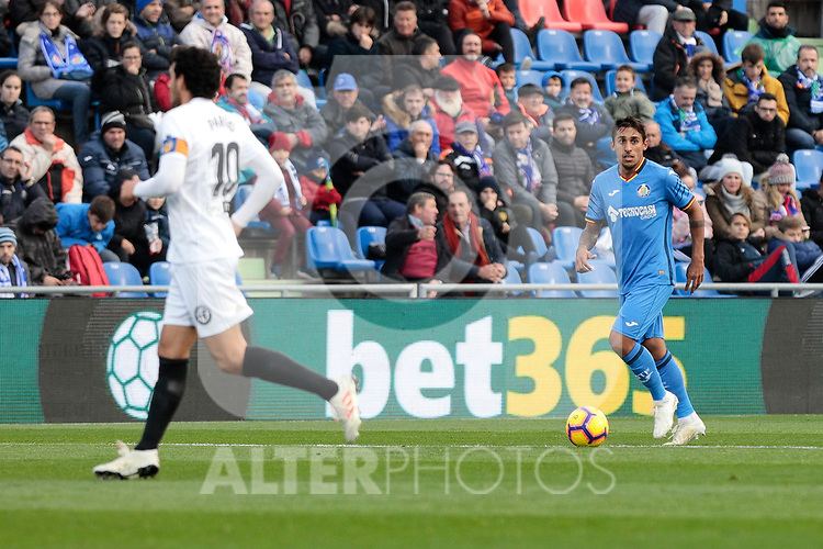 Getafe CF's Damian Suarez and Valencia CF's Daniel Parejo during La Liga match between Getafe CF and Valencia CF at Coliseum Alfonso Perez in Getafe, Spain. November 10, 2018.