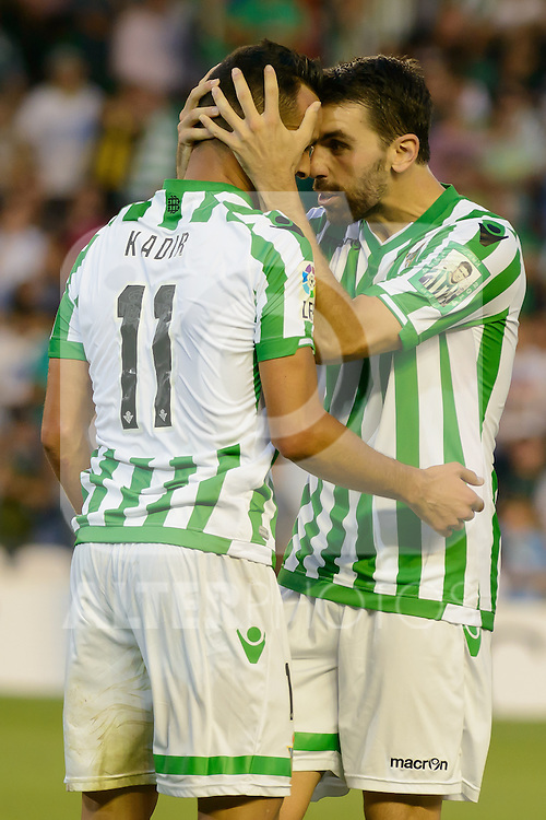 Kadir (L) and Jordi (R) during the match between Real Betis and Recreativo de Huelva day 10 of the spanish Adelante League 2014-2015 014-2015 played at the Benito Villamarin stadium of Seville. (PHOTO: CARLOS BOUZA / BOUZA PRESS / ALTER PHOTOS)
