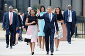 United States President Barack Obama, First Lady Michelle Obama and daughters Malia and Sasha arrive to greet His Holiness Pope Francis on his arrival at Joint Base Andrews in Maryland on September 22, 2015. The Pope is making his first trip to the United States on a three-city, five-day tour that will include Washington, D.C., New York City and Philadelphia. <br /> Credit: Olivier Douliery / Pool via CNP