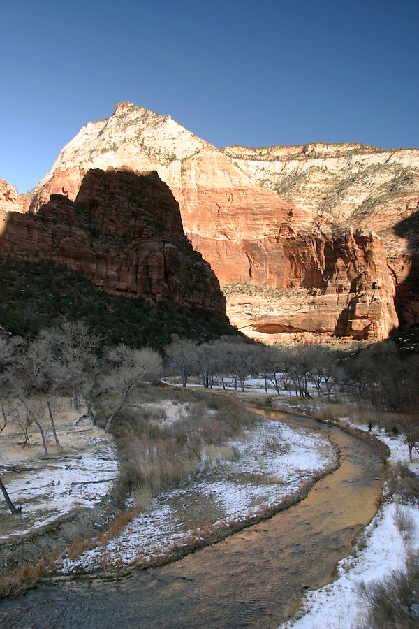 The North Fork Virgin River flows through desert canyon in winter, Zion National Park, Washington County, UT