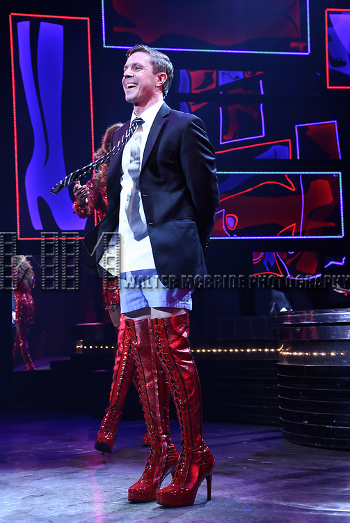 "Jake Shears during the Curtain Call for Wayne Brady's return to ""Kinky Boots"" on Broadway on March 5, 2018 at the Hirschfeld Theatre in New York City."