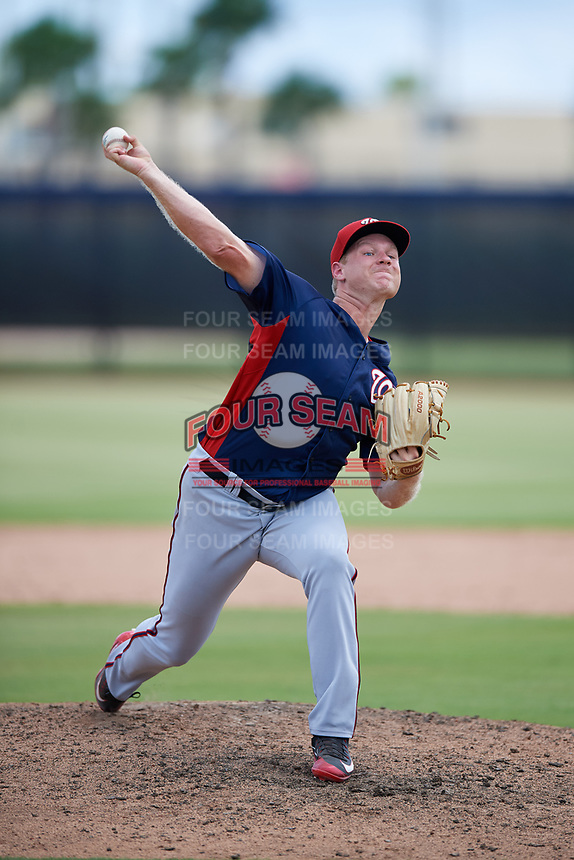 GCL Nationals relief pitcher Andrew Karp (92) delivers a pitch during a game against the GCL Astros on August 6, 2018 at FITTEAM Ballpark of the Palm Beaches in West Palm Beach, Florida.  GCL Astros defeated GCL Nationals 3-0.  (Mike Janes/Four Seam Images)