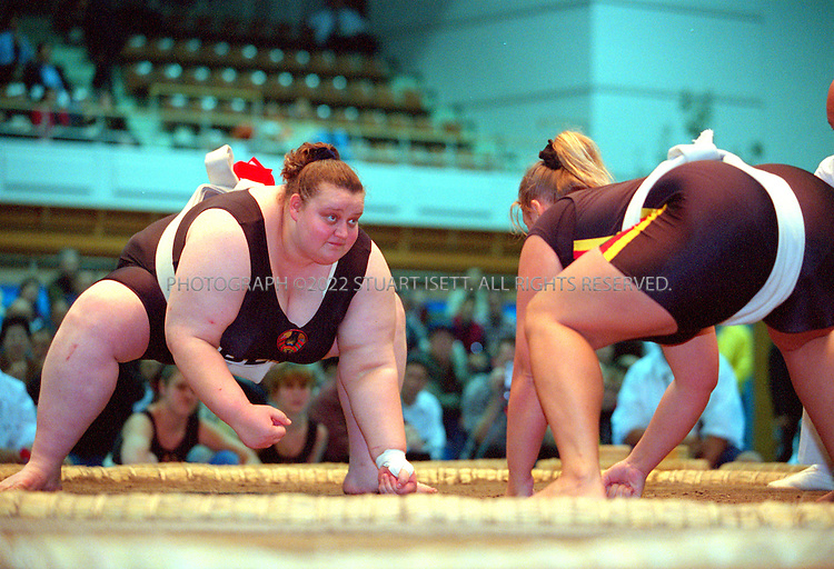 10/26/2001--Hirosaki, Aomori Prefecture, Japan..Veranika Kazlovkaya of Belarus at the World international sumo tournament....All photographs ©2003 Stuart Isett.All rights reserved.This image may not be reproduced without expressed written permission from Stuart Isett.