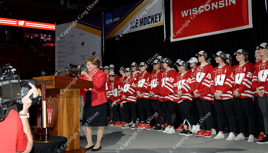 University of Wisconsin chancellor, Rebecca Blank, introduces the 2019 national champion Badgers women's hockey team during the NCAA championship awards ceremony on Monday, 3/25/19, at the Kohl Center in Madison, Wisconsin