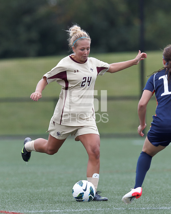 Boston College forward Rachel Davitt (24) passes the ball. Pepperdine University defeated Boston College,1-0, at Soldiers Field Soccer Stadium, on September 29, 2012.