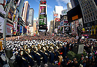 Nov. 20, 2010; The Notre Dame Band performs a concert in Times Square in New York City before the Notre Dame-Army game at Yankee Stadium...Photo by Matt Cashore/University of Notre Dame