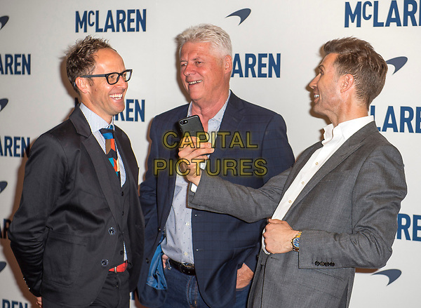 LONDON, ENGLAND - MAY 22: (L-R) Fraser Brown, Roger Donaldson and Matthew Metcalfe attend the UK screening of 'McLaren' at Ham Yard Hotel on May 22, 2017 in London, England. <br /> CAP/PP/GM<br /> &copy;GM/PP/Capital Pictures