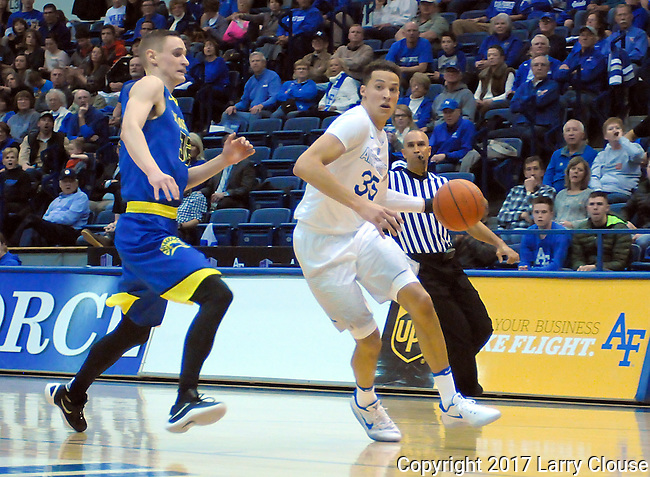 January 14, 2017:  Air Force forward, Hayden Graham #35, drives the baseline during the NCAA basketball game between the San Jose State Spartans and the Air Force Academy Falcons, Clune Arena, U.S. Air Force Academy, Colorado Springs, Colorado.  San Jose State defeats Air Force 89-85.