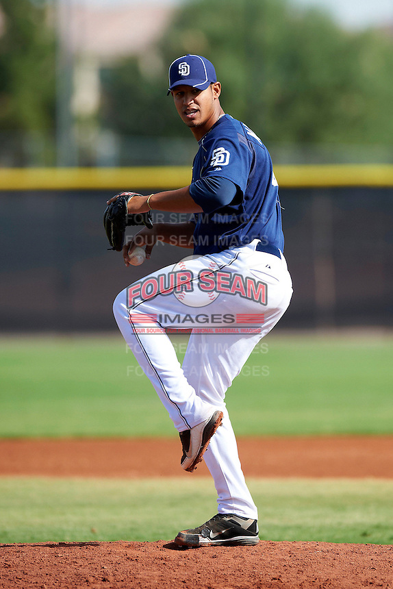 San Diego Padres minor league pitcher Ivan Marcano #47 during an instructional league game against the Seattle Mariners at the Peoria Sports Complex on October 6, 2012 in Peoria, Arizona.  (Mike Janes/Four Seam Images)