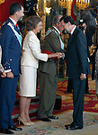 Prince Felipe of Spain, Queen Sofia of Spain, Juan Carlos I King of Spain and Mariano Rajoy President of the Government of Spain attend the Royal Palace reception on the National Military Parade.October 12,2012.(ALTERPHOTOS/Pool)
